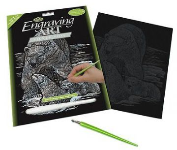 ENGRAVING ART SET - POLAR BEAR & CUBS (SILVER FOIL) by ROYAL & LANGNICKEL